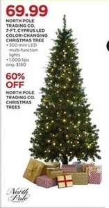 North Pole Trading Co. 7-Ft. LED Color Changing Cyprus Christmas Tree