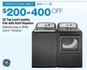 GE Top Load Laundry Pair with Auto Dispense