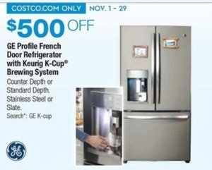GE Profile French Door Refrigerator w/ Keurig K-Cup Brewing System
