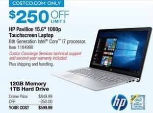 "HP Pavilion 15.6"" 1080p Touchscreen Laptop"