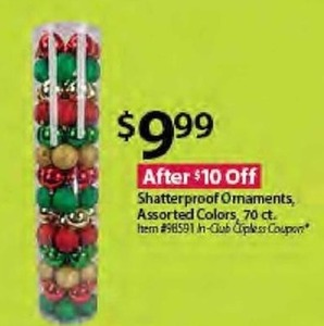 Shatterproof Ornaments- Assorted Colors 70ct.