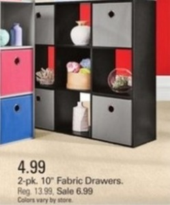 "2-Pk 10"" Fabric Drawers"