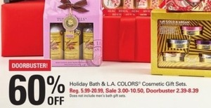 Holiday Bath and L.A. Colors Cosmetic Gift Sets