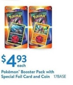 Pokemon Booster Back w/ Special Foil Card & Coin