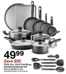 T Fal 20 Pc Nonstick Cookware Set