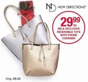 New Directions Reversible Tote w/ Phone Charger
