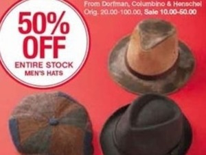 Entire Stock of Men's Hats