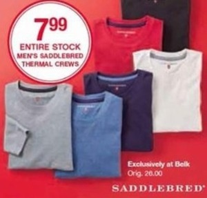 Entire Stock Men's Saddlebred Thermal Crews