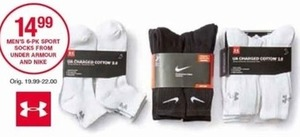 Men's 6 Pack Sport Socks from Under Armour and Nike