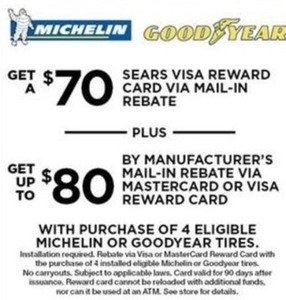 Free Rebate w/ 4+ Michelin Tires