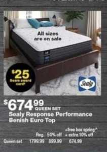 Sealy Response Performance Benish Euro Top Queen Set w/ $25 Rewards Card