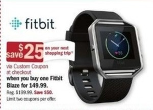 Fitbit Blaze + $25 Off Next Shopping Trip
