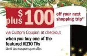 Purchase Vizio TVs for a Coupon