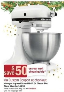 KitchenAid 4.5 qt Classic Stand Mixer + $50 Custom Coupon at Checkout