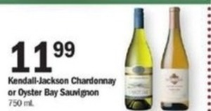 Kendall-Jackson Chardonnay or Oyster Bay Sauvignon