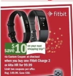 Fitbit Charge 2 or Alta HR + $10 Off Next Shopping Trip