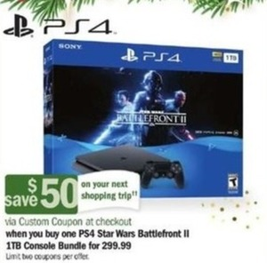 PS4 Star Wars Battlefront II 1TB Console Bundle + $50 Custom Coupon