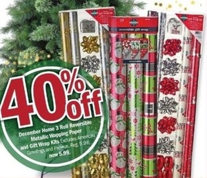 December Home 3 Roll Reversible Metallic Wrapping Paper and Gift Wrap Kits