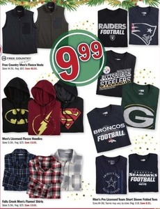 Select Men's Hoodies, Flannel Shirts, Folded Tees or Fleece Vests