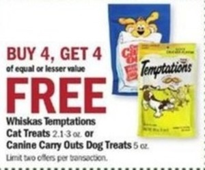 Whiskers Temptations Cat Treats or Canine Carry Outs Dog Treats