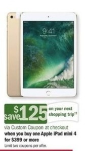 Apple iPad Mini 4 + $125 Custom Coupon