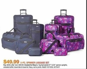 Springfield 5-Pc. Spinner Luggage Set (Navy, Red, Or Print)