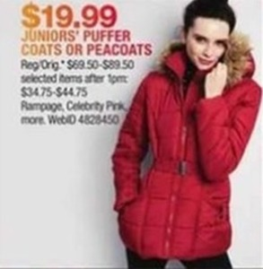 Juniors' Puffer Coats or Peacoats
