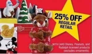 25% Off Holiday Disney, Peanuts, and Rudolph Licensed Products w/ Card