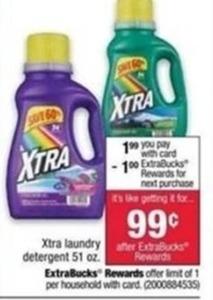 Xtra Laundry Detergent After ExtraBucks Rewards