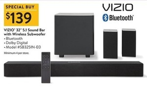 "Vizio 32"" 5.1 Sound Bar w/ Wireless Subwoofer"