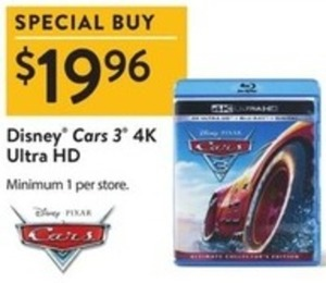 Disney Cars 3 4K Ultra HD Blu-ray