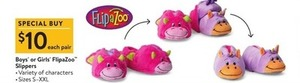 Boys' or Girls' FlipaZoo Slippers