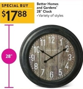 "Better Homes And Gardens 28"" Clock"