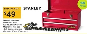Stanley 2-Drawer Tool Chest w/ 100-piece Tool Set