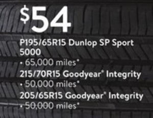 Dunlop SP Sport 5000 Tires P195/65R15 65,000 Miles