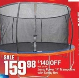"Jump Power 14"" Trampoline w/ Safety Net"