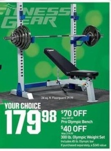Pro Olympic Bench or 300 lb Olympic Weight Set 17998 at Dicks