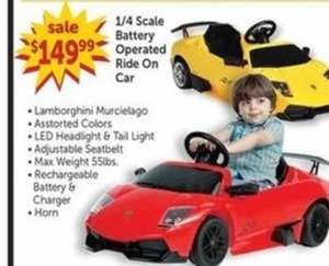 1/4 Scale Battery Operated Ride-On Car