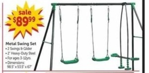 Metal Swing Set with 2 Swings and Glider