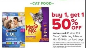 Entire Stock of Purina Cat Chow & Meow Mix Cat Food Bags