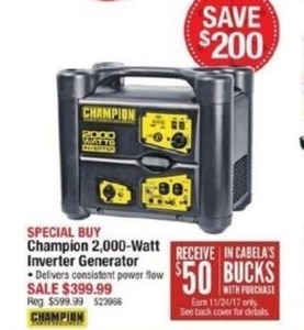 Champion 2000-Watt Inverter Generator with $50 Cabela's Bucks with Purchase