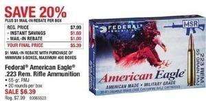Federal American Eagle .223 Rem Rifle Ammunition After Rebate