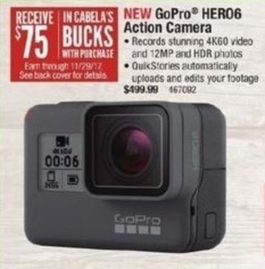 GoPro HERO6 Action Camera + $75 Cabela's Bucks Through 11/29