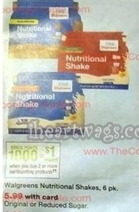Walgreens Nutritional Shakes 6 Pk. with Walgreens Card