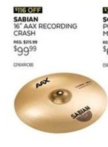 Sabian AAX Recording Crash
