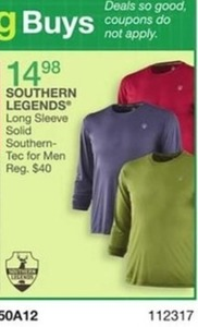 Southern Legends Long Sleeve Solid Southern-Tec for Men
