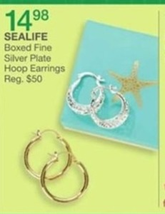 Sealife Boxed Fine Silver Plate Hoor Earrings