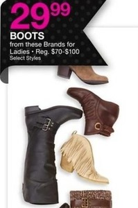 Select Styles and Brands of Boots for Ladies
