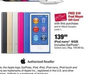 $10 Fred Meyer GC w/ 16 GB iPod Nano