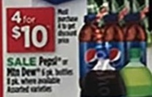 Pepsi or Mountain Dew 6-Pk Bottles